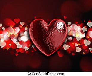 corazón, bokeh, 3d, plano de fondo, luz