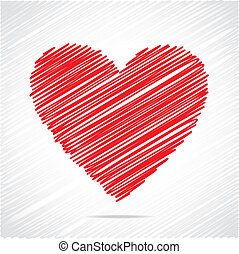 corazón, bosquejo, diseño, rojo