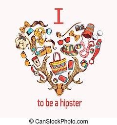 corazón, bosquejo, hipster