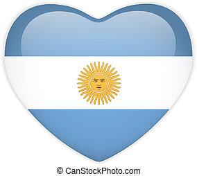 corazón, botón, bandera, argentina, brillante
