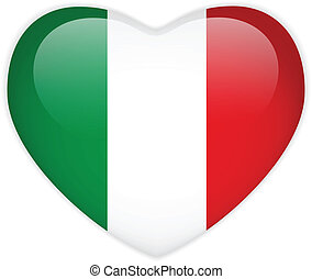 corazón, botón, bandera italy, brillante