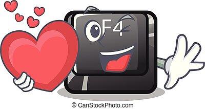 corazón, botón, f4, forma, caricatura