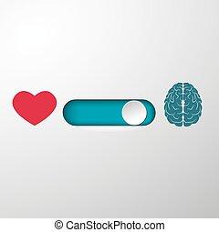 corazón, botón, selección, cerebro