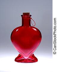 corazón, botella dar forma