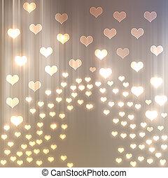 corazón, brillante, resumen, plano de fondo, bokeh