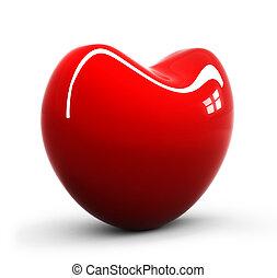 corazón, brillante, rojo