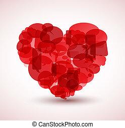 corazón, burbujas, hecho, caricatura, rojo