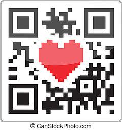 corazón, código, qr