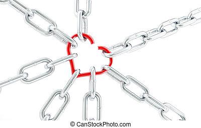 corazón, cadenas, roto