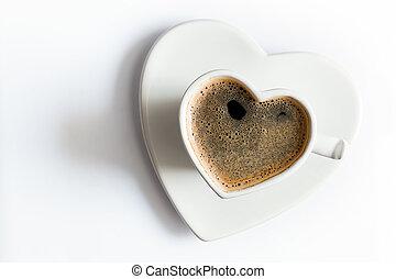 corazón, café, amor, formado, taza, negro, white.