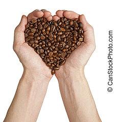 corazón, café, hecho, forma, frijoles, manos