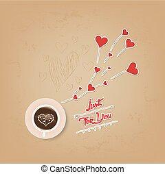 corazón, café, valentines, taza