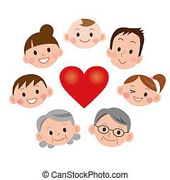 corazón, cara, caricatura, familia , iconos
