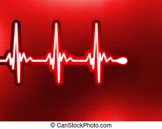 corazón, cardiograma,  EPS, profundo, él,  8, rojo