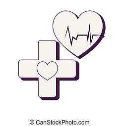 corazón, cardiología, con, cruz, médico
