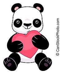 corazón, caricatura, panda