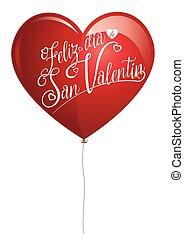 corazón, cartas, san, idioma, valentino, feliz, globo, de,...