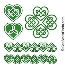 corazón, celta, verde, irlandés, escocés
