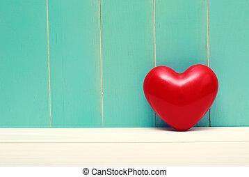 corazón, cerceta, madera, vendimia, rojo, brillante