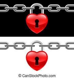 corazón, cerradura, con, cadena