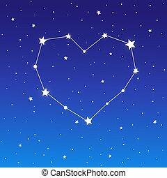 corazón, cielo, constelación, estrellado