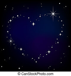 corazón, cielo, estrella, noche