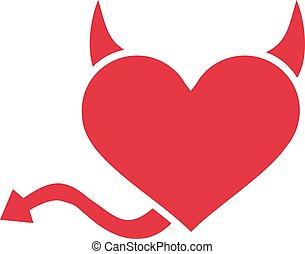 corazón, cola, diablo, cuernos
