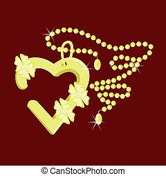 corazón, colgante, en una cadena