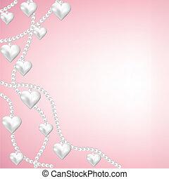 corazón, collar, perla