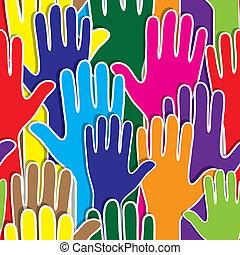 corazón, como, gente, apoyo, mano, unidad