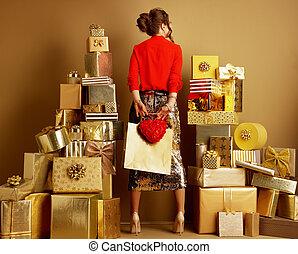 corazón, compras de mujer, bolsa, atrás, moderno, vistos, rojo