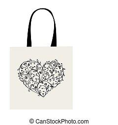 corazón, compras, forma, bolsa, diseño, floral