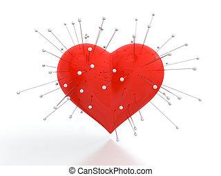corazón, con, agujas