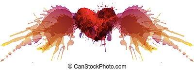 corazón, con, alas, hecho, de, colorido, grunge, salpicaduras