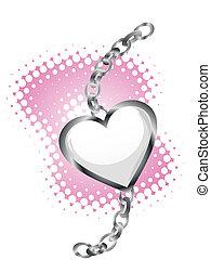 corazón, con, cadena