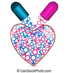 corazón, con, capasule