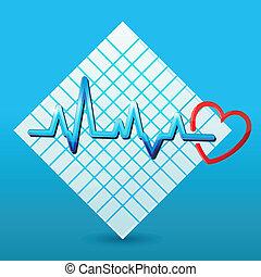 corazón, con, cardiología, en, papel