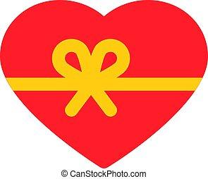 corazón, con, cinta