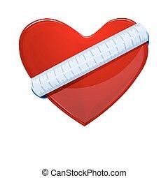 corazón, con, cinta medición