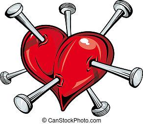 corazón, con, clavos