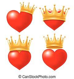 corazón, con, corona