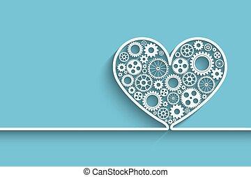 corazón, con, engranajes