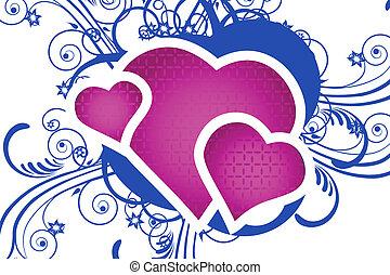 corazón, con, floral, plano de fondo