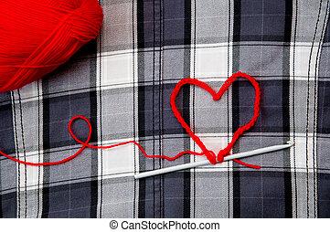 corazón, con, hilo