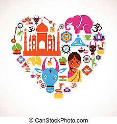 corazón, con, india, vector, iconos