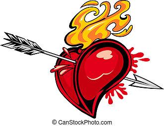 corazón con la flecha, tatuaje