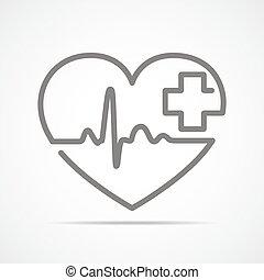 corazón, con, latido del corazón, señal, y, con, cross., vector, illustration.