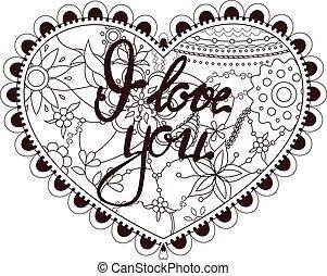 corazón, con, letras, te amo