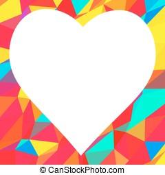corazón, con, lugar, para, texto