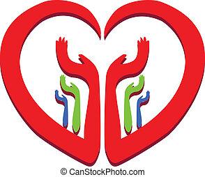 corazón, con, manos, logotipo